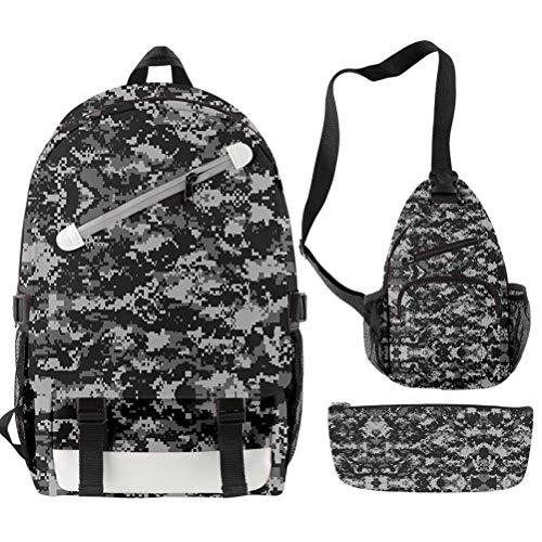 CQW camouflage pattern slash zipper backpack shoulder bag pen bag set student school bag travel backpack (5)