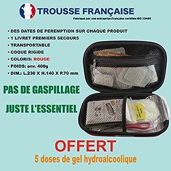 Trousse premier secours MADE IN FRANCE -Gel hydroalcoolique OFFERT- premier soin + couverture de survie/Trousse rouge à coque étanche idéal sac à dos/voiture/voyage/travail/sport/loisir/maison/enfants