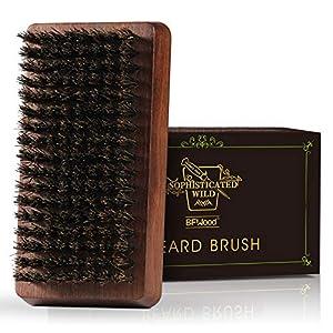 BFWood Cepillo para la Barba de Cerdas de Jabalí - Mango de madera de nogal negro, ideal para el cuidado de la Barba y el Bigote