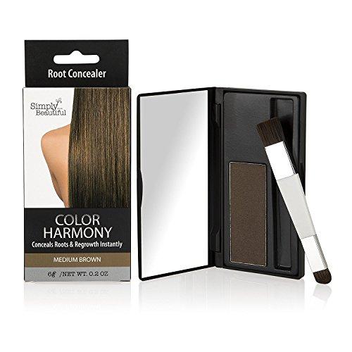 Color Harmony Poudre Retouche Racines Cheveux: Couvrant les Racines Foncées de votre Couleur: Waterproof Résistant à l'Eau Mascara Correcteur de Racines: Ne colle pas, Facile à Appliquer (Brun Moyen)
