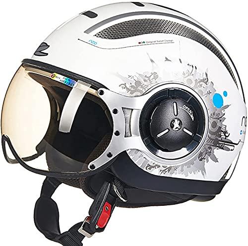 Casco de chorro.Casco de motocicleta del casco del casco de la scooter del casco del casco ciclomotor del casco de ciclismo del helicóptero del casco retro del vintage.ECE 22.05 con bolso de liberació