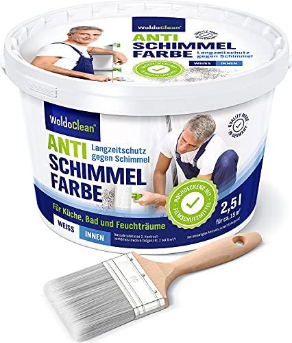 Wandfarbe gegen Schimmel für alle Innenräume 2.5l - mit Pinsel gegen Schimmelbildung mit Langzeitschutz auch für Holz