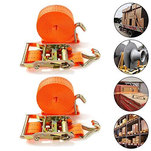 Aufun Spanngurt mit Haken 6m 38mm Profi Robuste 2000 daN zweiteilig Ratschengurt Zurrgurte nach DIN EN 12195-2 Ratschenspanngurt Spanngurt-Set für Profis und Privattransport, Orange 2 x 6 m