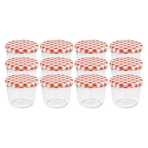 WELLGRO® Einmachgläser mit Schraubdeckel - 230 ml, 8,5 x 6,5 cm (ØxH), Glas/Metall, rot karierte Deckel To 82, Gläser Made in Germany, verschiedene Mengen wählbar, Stückzahl:12 Stück