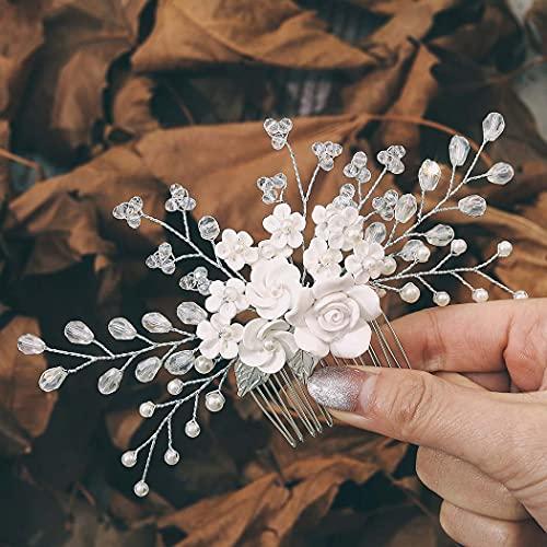 Edary Braut Hochzeit Haarkamm Silber Blume Braut Kopfschmuck Strass Haarklammern Kristall Haarschmuck für Frauen und Mädchen (2)