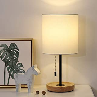 Wood Desk Lamp, Nightstand Table Lamp With White Fabric Shade, Modern Bedside Lamp For Bedroom, End Table, Farmhouse, Guestroom, College Dorm, Coffee Table
