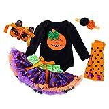 BaZhaHei Vestiti di Halloween Bambina Manica Lunga Body Tutine Pagliaccetto di Zucca Cartoon+Gonna+Fascia per Capelli+Calze+Scarpa Set Abito Abiti Costume per Halloween Festa (0-3mesi, Black)