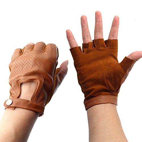 Evaliana Genuine Leather Sheepskin Fingerless Driving Gloves, Camel, Size Medium