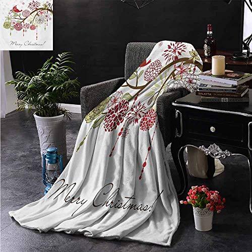 ZSUO bont gooien deken Heilige Bloemen Winter Rode Vogelhoed en Sjaal op Blooming Tree Natuur Geïnspireerd Extra Gezellig, Machine Wasbaar, Comfortabele Home Decor