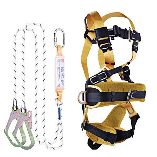 CTEGOOD Fallschutz Set Sicherheitsgeschirr, Safety Absturzsicherung dachdecker-Set für Bergsteigen, Baumklettern, In Höhen arbeiten2m-Single Rope