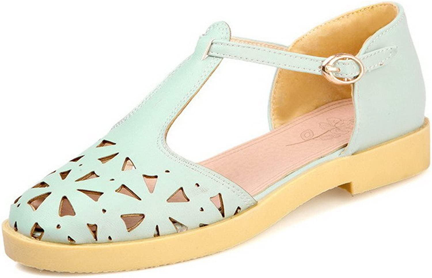 AllhqFashion Women's Low Heels Soft Material Solid Buckle Closed Toe Sandals