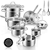 Duxtop Professional Stainless Steel Pots and Pans Set, 18-Piece Induction Cookware Set, Saucepan...