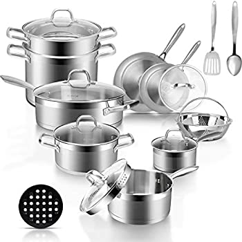 Duxtop Professional Stainless Steel Pots and Pans Set 18-Piece Induction Cookware Set Saucepan with Pour Spout and Strainer Lid Impact-Bonded Technology