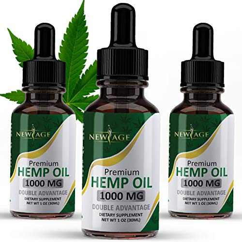 (3 Pack) Hemp Oil, 1000mg of Organic Hemp, Grown & Made in The USA by New Age