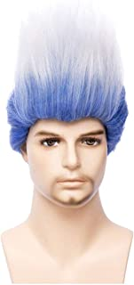 BERON Adult Short Straight Blue White Men Wigs Inspired Helloween Costume Cosplay Party Wig (Adult)