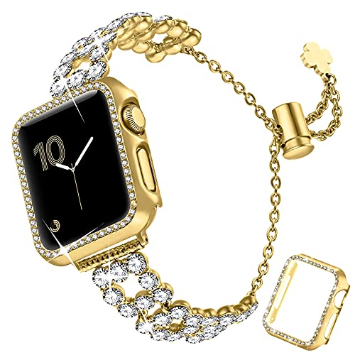 fastgo Bling Band Compatible with Apple Watch 38mm/40mm/42mm/44mm with Case Women, Jewelry Glitter Metal Rhinestone Bracelet Replacement Strap Cover for iWatch SE Series 6/5/4/3/2/1(Gold,38mm)