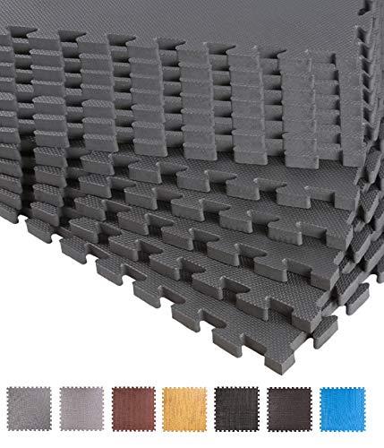 BodenMax CRS804913-3030-18 Puzzle Fußmatte Schaumstoff Eva Schutzmatte Muster Schwarz 30x30x1 cm (18 Stück)