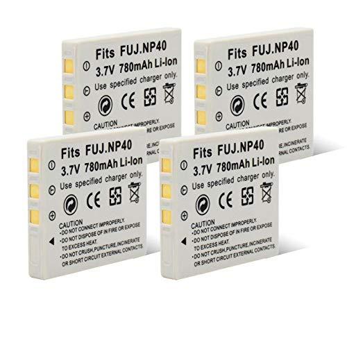 RitzyRose NP 40 3.7v 780mah BateríAs De Iones De Litio, Recargables Digitales Premium para Fuji De Una Sola Lente Reflex F402 F455 F460 F480 4pcs