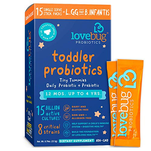 Lovebug Probiotic and Prebiotic for Kids, 15 Billion CFU, for Children 12 Months to 4 Years, Best Children's Probiotics, Contains 1 Gram Fiber, 15 Packets
