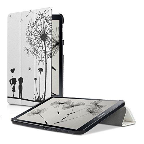 kwmobile Hülle kompatibel mit Samsung Galaxy Tab A 10.1 T580N/T585N (2016) - Smart Cover Tablet Case Schutzhülle - Stand - Pusteblume Love Schwarz Weiß