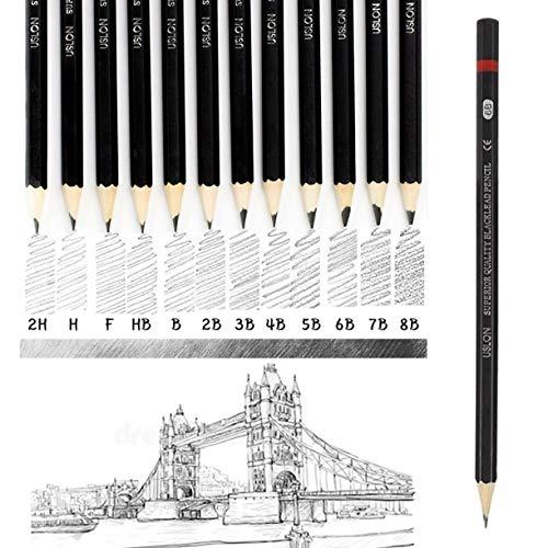 Juego de 12 lápices de grafito graduados, 8B, 7B, 6B, 5B, 4B, 3B, 2B, B, B, HB, F, H, 2H, 2H, lápices de arte profesionales para niños, estudiantes, principiantes y artistas