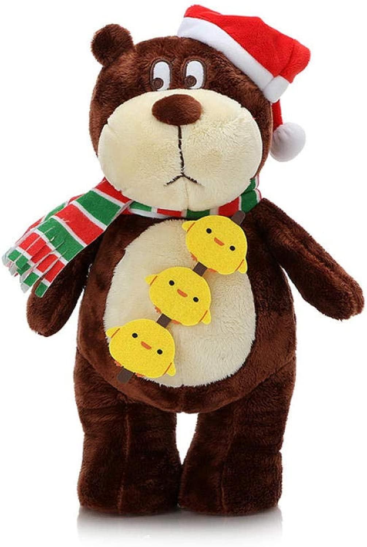 Yfkgh Regalo di Compleanno, Orso di Hans, Peluche, Orsac otto, Bambola di Orso, Bambola di Orso d'orso, Bambola di Orso di Bambini@Orso di Natale Marronee Rosso_50 cm di Altezza