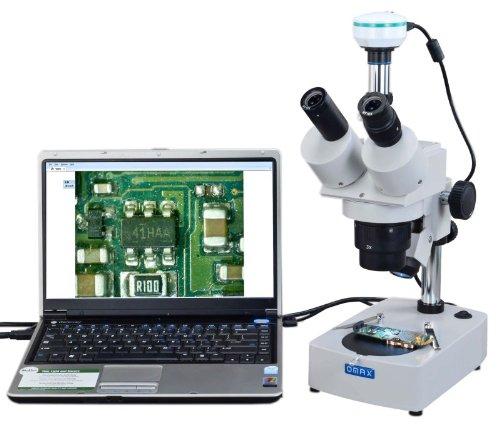 OMAX 10X-20X-30X-60X Digital Trinocular Stereo Microscope with 2.0MP USB Digital Camera and Dual Illumination System