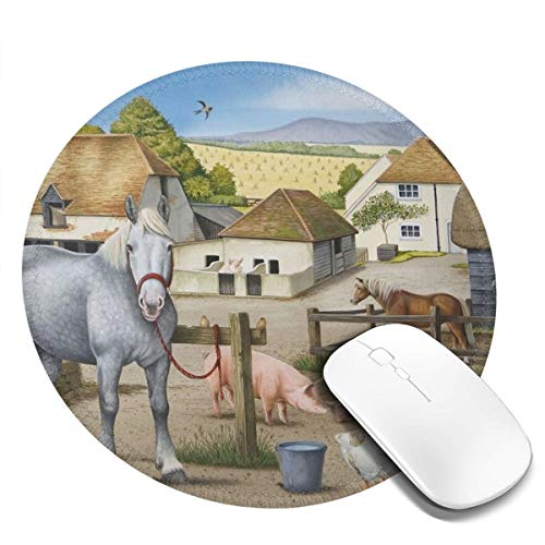 Farmyard Harvest Scene Design Pattern Round Mouse Pad Desk Pad Non-Slip Rubber Mice Pads Stitched Edges Cute Round Mouse Pad for Office and Home