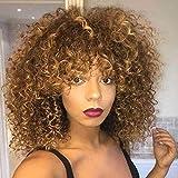 TOOCCI Parrucca Donna Capelli Umani Veri Parrucche Capelli Veri Ricci Colore Marrone Pixie wig Afro Kinki Curly Human Hair Wigs With Bangs Brazilian Wigs Human Hair 130% Density Colore #30