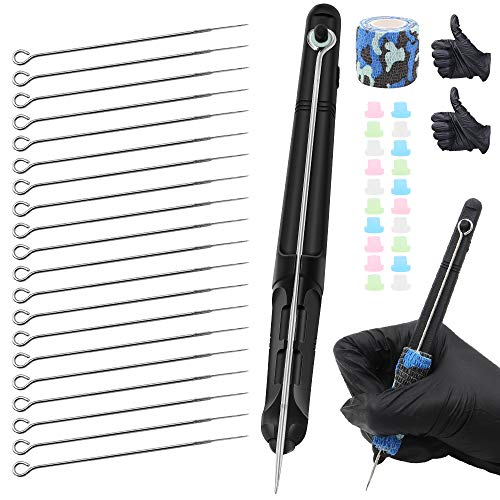 Hand Poke and Stick Tattoo Kit - Yuelong Black Stick and Poke Pen 3D Hand Poke Tattoo Tool DIY Tattooing Supply with Tattoo Needles Bandage Tape Tattoo Grommets for Tattoo Artist