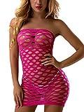 FasiCat Women's Mesh Lingerie Fishnet Babydoll Mini Dress Free Size Bodysuit Hotpink