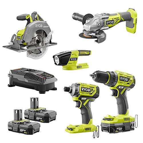 RYOBI P1980N 18-Volt ONE+ Cordless 5-Tool Combo Kit with Drill, Circ Saw, Grinder, Impact Driver, (3) 2.0 Ah Batteries, and Charger