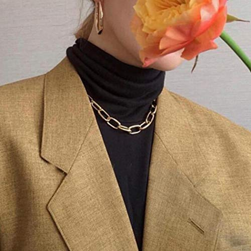 TseenYi - Collana a catena quadrata punk, in argento, con clip spesse e ovali, per donne e ragazze