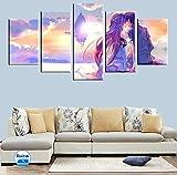 5 Paneles Anime espada arte en línea amor romántico cartel lienzo pintura cuadro modular habitación de los niños arte de la pared decoración 150x80 cm con marco