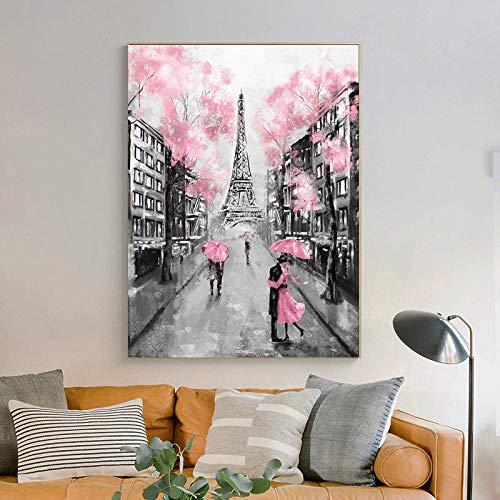 wZUN Romantische Stadtliebhaber Paris Eiffelturm Landschaftsdruck abstrakte Ölgemälde auf Leinwand Wandkunst...