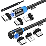TOPK USB Magnetic Cable,Micro USB and Type C 3in1, 90 Degree Right Angle,Nylon Braided Cord,360 Magnetic Charging Cable with Led Light,(2-Pack,10ft/10ft) Magnetic Phone Charger Cable for Android