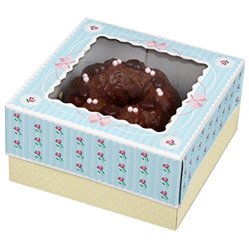 Zenker Muffinboxen 16x16x8cm 2er-Set aus Papier, rosa/Creme/blau, 16 x 16 x 2 cm