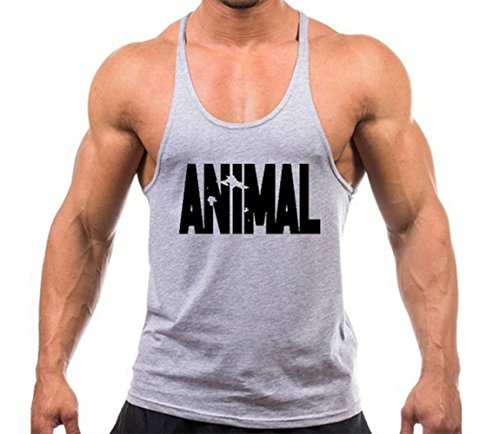 Volon Tanktop Herren Fitness Unterhemd Tankshirt Animal Tops Sport Shirt Trägershirt Sommer Männer Bodybuilding Oberteile Tank Gym Baumwolle,XXL,Grau