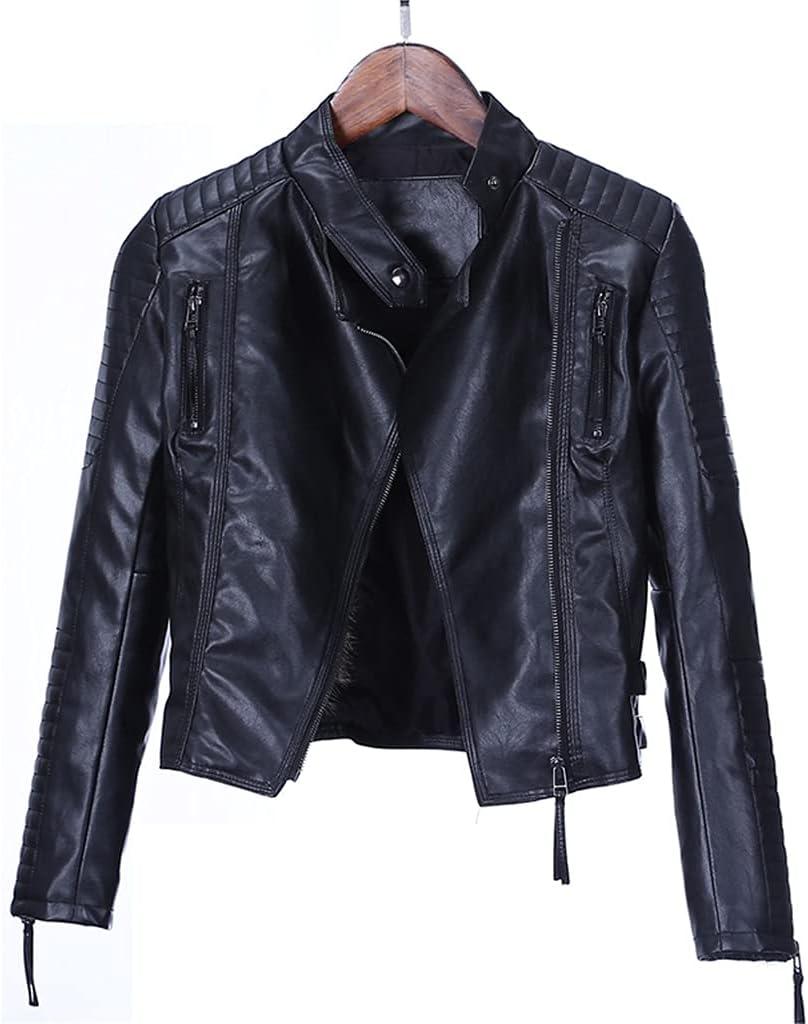 ZZABC NSWT Autumn Women Punk Leather Jacket Soft PU Faux Leather Female Jackets Basic Bomber Leather Coats (Color : Black, Size : L Code)