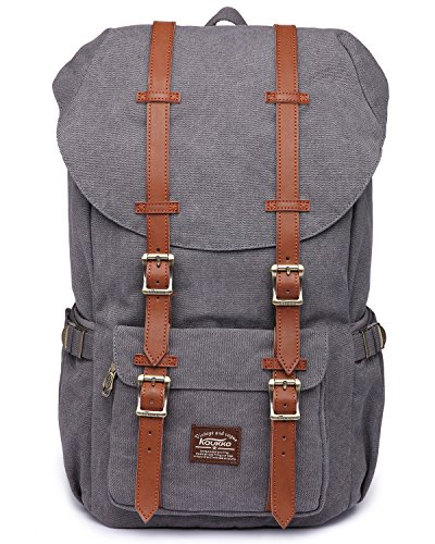 KAUKKO Canvas Rucksack Backpacks Oudoor Hiking Camping Hunting Travel Military Backpacks...