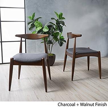 Sandra Charcoal Fabric Mid Century Modern Dining Chairs (Set of 2)