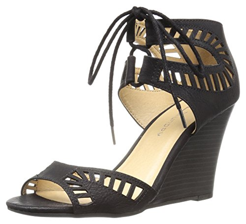 CL by Chinese Laundry Women's Bright Sun Wedge Pump Sandal, Black Nubuck, 11 M US