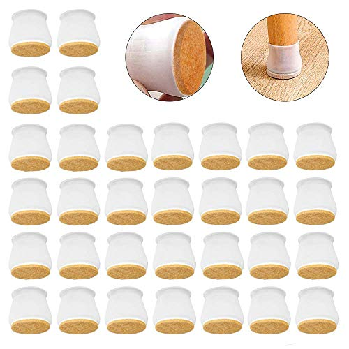 Iwinna Silicone Chair Legs Floor Protectors Caps 16pcs/32pcs Furniture Silicon Protection Cover with Felt Pads Round Anti-Slip Table Feet Prevents Scratches and Noise Without Leaving Marks (32pcs)