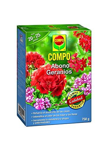 COMPO Abono para geranios, Apto también para otras plantas de flor, Envase estanco, Granulado, Para 20-25 plantas, 750 g, 2655302011