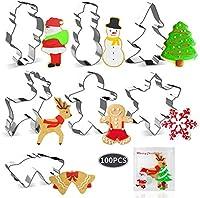joyoldelf formine biscotti natale e 100 pezzi mini borsa - 7 pezzi formine biscotti in acciaio inossidabile,albero di natale, fiocco di neve, renne, pupazzo di neve, babbo natale, campana per bambini