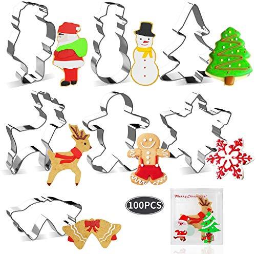 Joyoldelf Ensemble de Emporte-pièces de Noël 7 Pcs avec 100 PCS Sacs à Bonbons, en Forme de Bonhomme Pain d'épice, Flocon de Neige, Sapin Noël, Renne, Bonhomme de Neige, Le Père Noël, Cloche