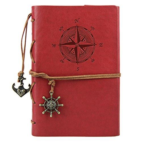Liying Retro Skizzenblock Tagebuch Notizbuch Softcover DIN A5 Kraftpapier Blanko Geschenkbucher Reisetagebuch Rot
