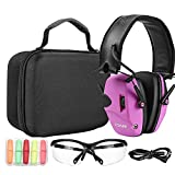 ZOHAN EM054 Electronic Shooting ear and eye protection Set for women, Glasses,Earplugs, Protective Case, Noise Reduction Sound Amplification Safety Earmuffs for Gun Range