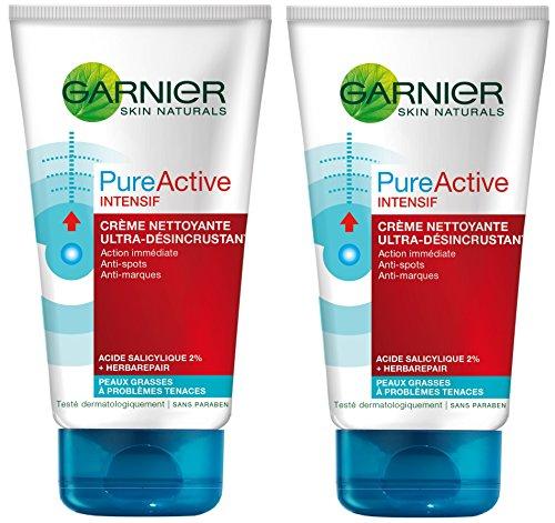 Garnier Skin attiva Pure Active intensivo crema detergente ultra-désincrustante 150ml, Confezione da 2