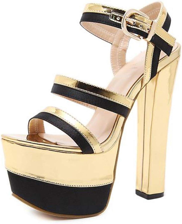 Btrada Women Steel Pipe Dance Sandals Ladies Super High Heel Peep Toe Sandals Thick Soles Platforms Party shoes